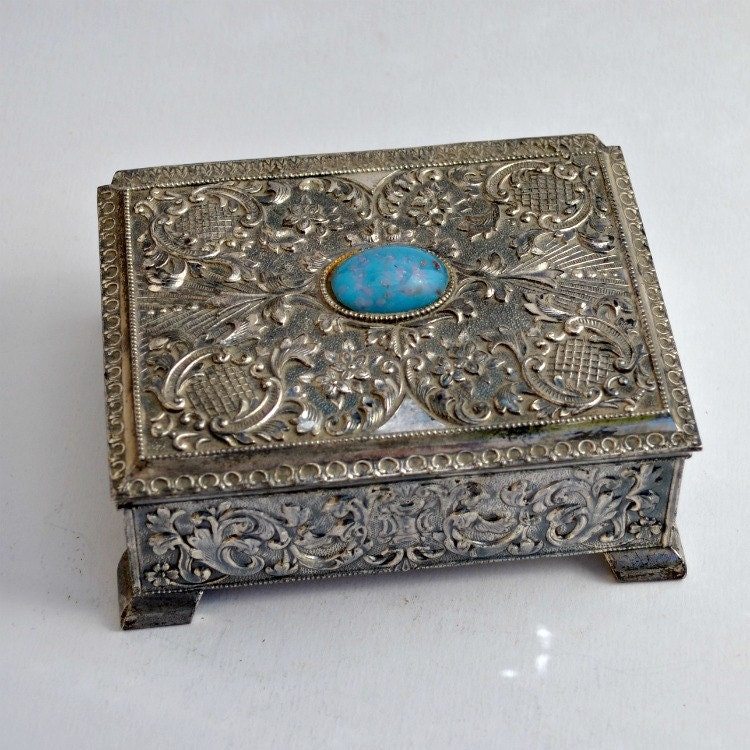 Vintage jewelry box silver plated Japan