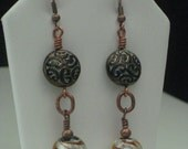 Mayan Moon Solstice Earrings - Wire Wrapped Copper And Silver Glass Foil And Czech Button Beads