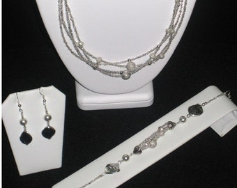 Silver Bedazzled Set (Necklace, Bracelet & Earrings)-Multi-Strands Of Silver Seed Beads Smooth And Glitter Balls And Silver Shell Beads Sale