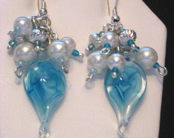 Blue/White Flower-Burst Earrings-Blue Swirl Glass, Cluster Of White Pearls, Silver Swirl Beads Suspended From Silver French Hook Wires Sale