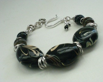 Chocolate Lover's Delight Bracelet - Black/Brown Swirl Glass Beads & Brown Tiger's Eye With Silver Jump Ring Spacers
