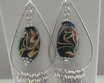 Chocolate Lover's Delight Teardrop Hoop Earrings - Black/Brown Swirl Glass Bead Swing  With Wire Wrapped Dangles and Jump Ring Spacers