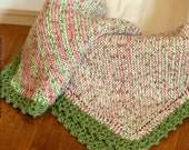 Pink and Green Diagonal Striped Eco-Friendly Baby Blanket