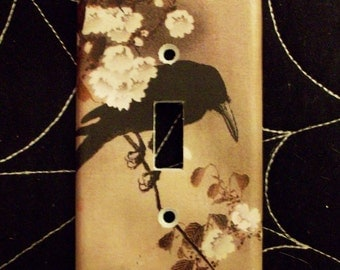 Japanese Raven Light Switch Cover - Switchplate - Switch Plate Cover