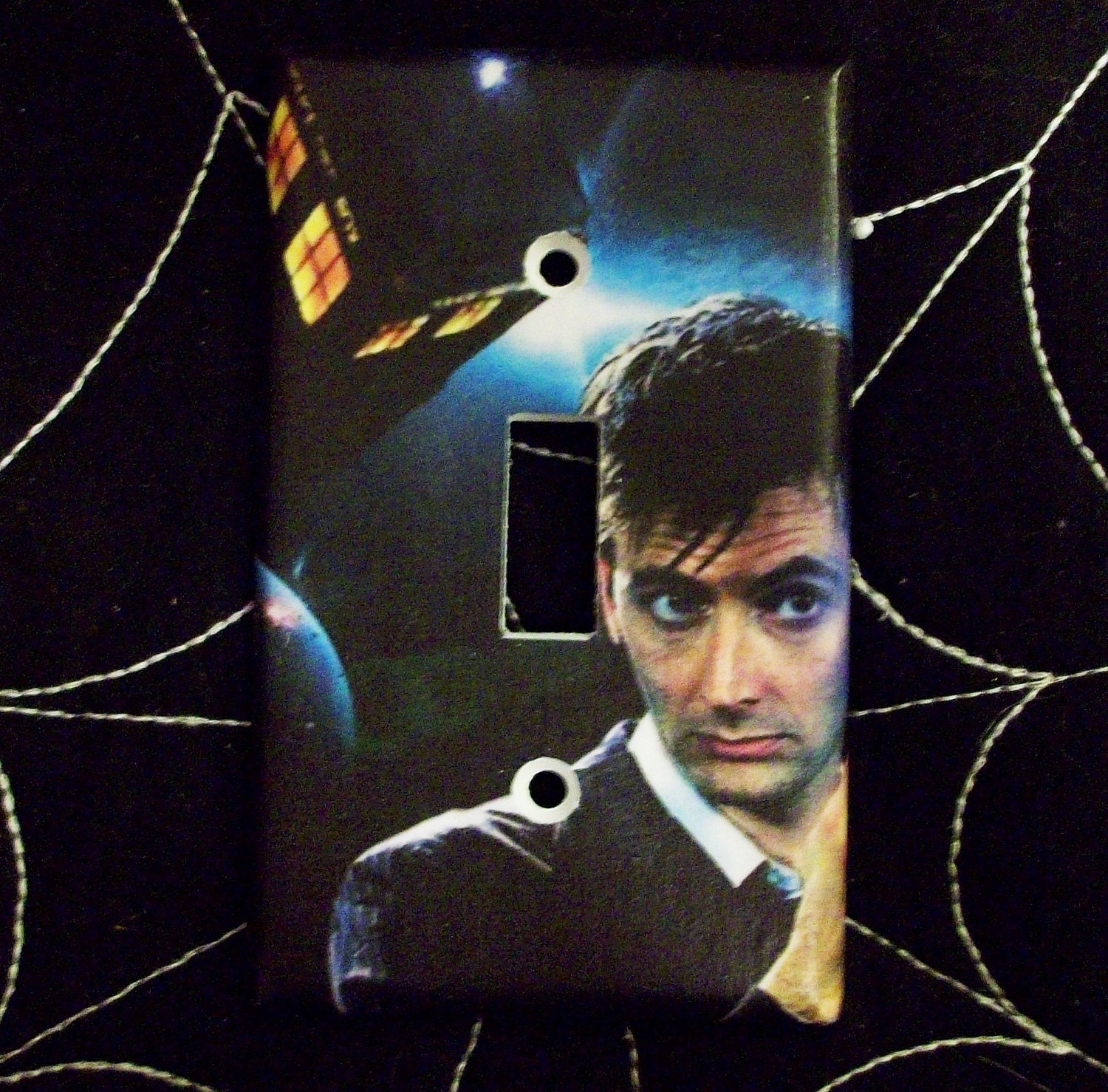 Doctor who david tennant tardis light switch by for Tardis light switch cover