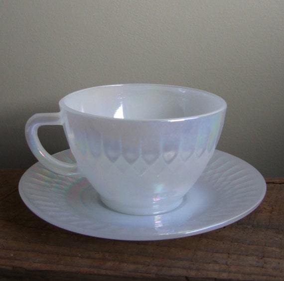 Federal Glass Teacup and Saucer Set White Pearl