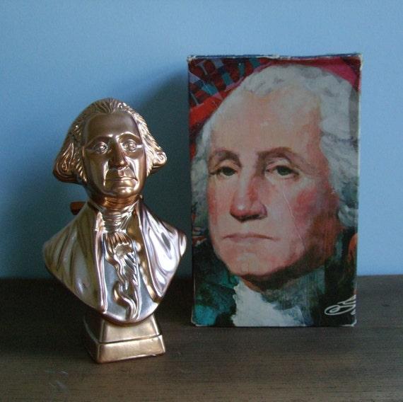 Avon President Washington Gold Bronze Bust Decanter