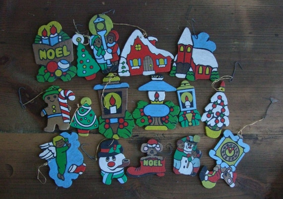 Vintage Collection of Small Wooden Hand-painted Holiday Ornaments (FIFTY)