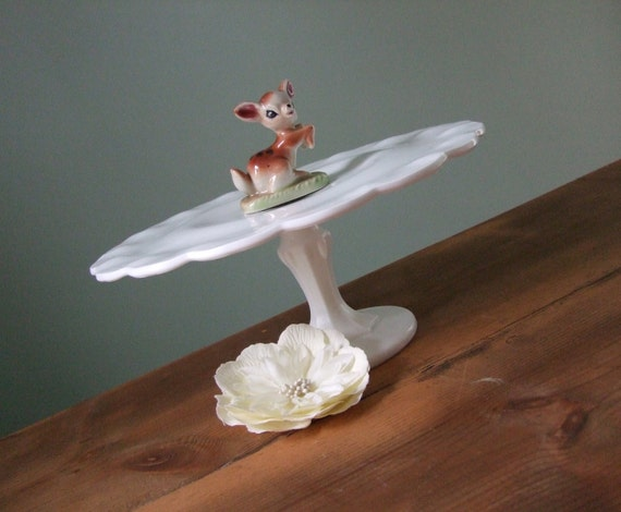 Milk Glass Cake Stand, Pedestal Cake Plate, White with Scalloped Edges