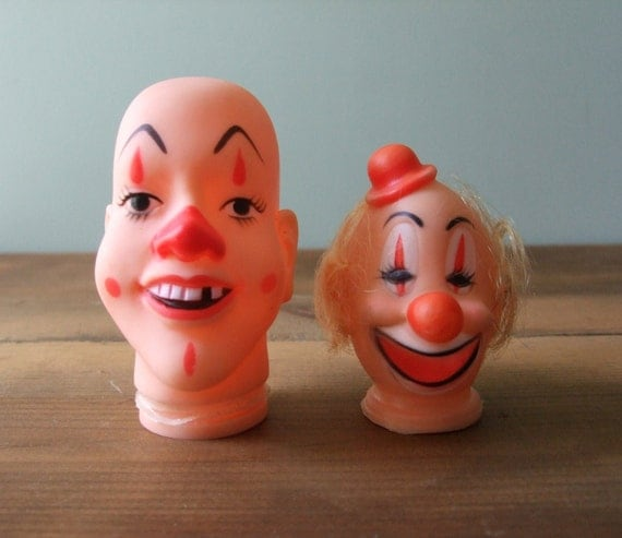 Clown Doll Heads, Plastic Doll Part Supply, Hat with Hair, Bald Creepy