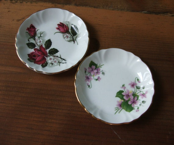 Princess House Hammersley Bone China Butter Plates, Small Dishes Coasters, Roses Violets