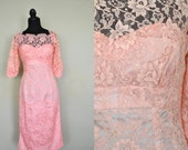 1950s Dress / 1950s Lace Dress/ Vintage 1950s Pink Lacey Wiggle Dress / Pink Lace Sexy Little Party Dress / Size Small Vintage Pink Dress