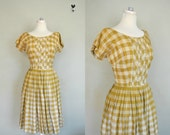 1950s Summer Dress / Medium Sundress / Checkered 1950s Dress / Vintage Checkered Dress / 1950s Country Girl Summer Sundress