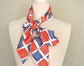 SALE   Under 25 Vintage Scarf / Skinny Tie Scarf / Americana Geometric Scarf / White Red Blue Scarf