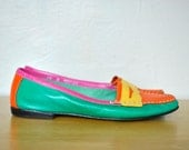 Bright Loafers / Women's Vintage Loafers / Size 7.5 Bright Spring Shoes / Vintage Flats