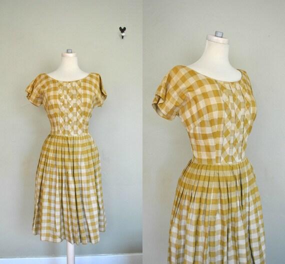 1950s Summer Dress / Medium Sundress / Checkered 1950s Dress / Vintage Checkered Dress / 1950s Country Girl Summer Sundress