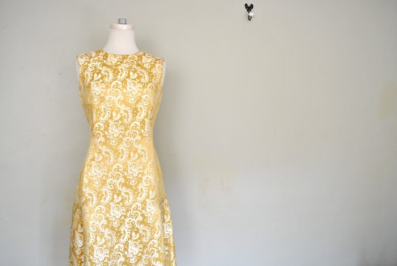 Yellow Brocade Dress and Coat Set / Beautiful Floral Brocade Pattern Sheath Dress and Coat Set / 1960s 1950s Brocade Set