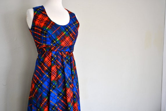 Plaid Dress  Maxi Dress / Tartan Bright Dress / Long Tartan Dress / Vintage Plaid Dress / Small Tartan Maxi Dress