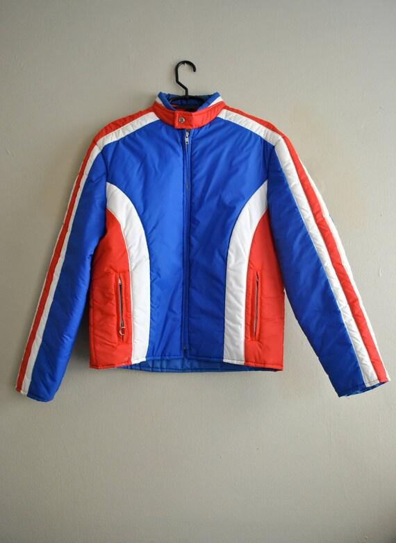 1970s Coat / Vintage Mens Coat / Vintage Puffy Men's Coat /  Kmart Red White and Blue Puffy Jacket
