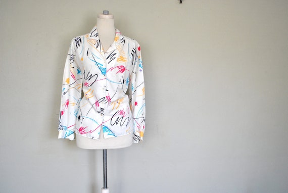 1980s Splash Bright Blouse / Bright Modern Art Look Blouse / Ladies Large Blouse / Work Chic Blouse