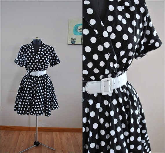 Polka Dot Dress / Vintage Black & White Polka Dot Dress / Pin Up Style Polka Dot Dress / Vintage 1980s Black and White Polka Dot Shift Dres