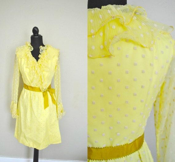 Christmas in JULY SALE   Polka dot dress / Yellow 1960s Dress /  1960s yellow dress
