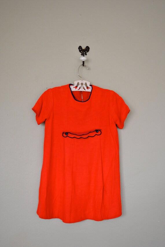Vintage Children's Dress / 1950s 1960s Little Girls Dress / Red Mod Dress / Vintage Kids Dress