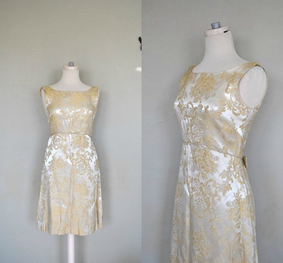 1950s Dress / Golden Vintage Dress / Gold Brocade Dress / 1950s Brocade Dress / Small Vintage Dress