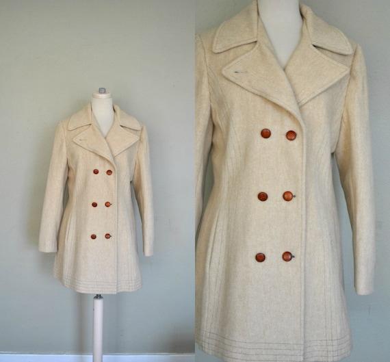 SALE Wool 1960s Coat / Beige Women's Vintage Coat / Winter Wool Coat / Medium Winter Coat / Vintage Beige Wool Coat