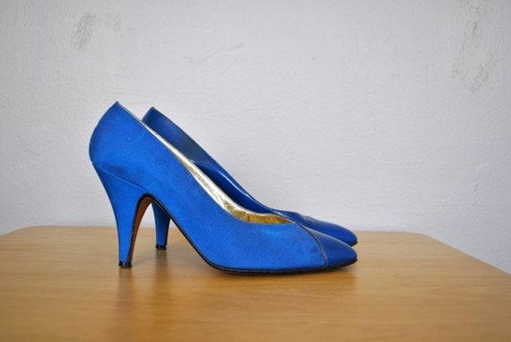 Bright Blue Heels / Blue Walter Steiger Heels / Vintage 1980s Size 6 Heels / Patent Leather Heels