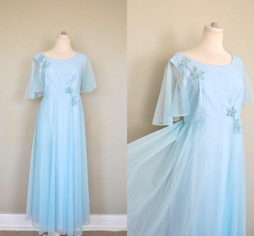 1960s Dress / 60s Prom Dress / Light Blue Chiffon Prom Dress