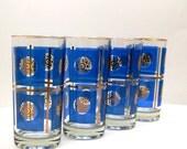 Vintage Highball Blue & Gold Leaf Glasses - SET of 4