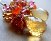 AAA Grade Imperial Yellow Topaz, Golden Citrine, Carnelian and Pink Quartz Gold Filled Cluster Earrings