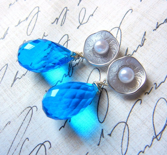 Swiss Blue Quartz and Pearl Faceted Teardrop Briolette Sterling Silver Matte Silver Flower Post Earring Brides Bridesmaids Wedding Glam