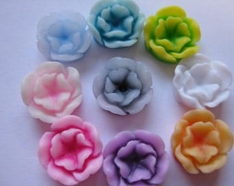 Lotus Flower Cabochons Resin, 13mm,  in Assorted Colours x 20 pcs