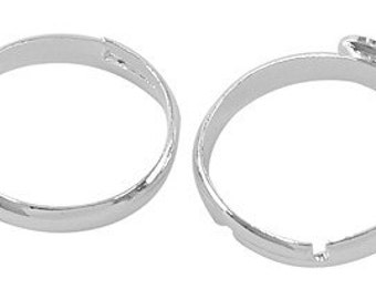 Adjustable Ring Blanks Silver Plated with 8mm pad x 10 pcs