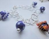 Memphis Tigers Charm Bracelet-Lampwork Beads
