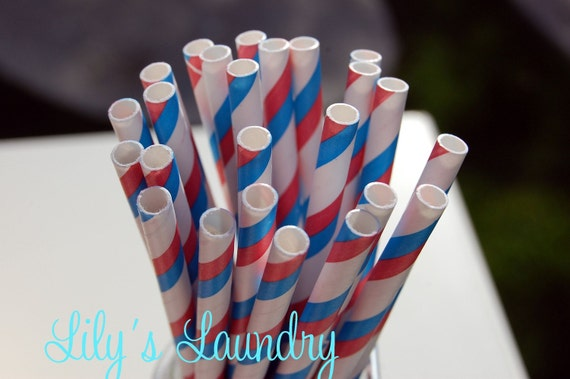 25 Red White and Blue Striped Paper Straws