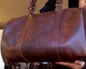 Arbermarle weekend bag, handmade leather bag, travel duffle bags, overnight bag for men and women custom weekender by Aixa Sobin - bag maker