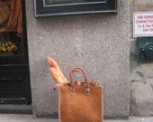 Handmade leather tote repurposed leather made in New York handmade handstitched by Aixa Sobin Leathers Luscious Leather NYC on Etsy