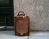 Leather Tote handmade rustic lap top handstitched by Aixa Sobin Leathers Luscious Leather NYC on Etsy