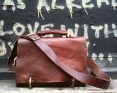 Horatio messenger, handmade leather bag with pockets/laptop sleeve/crossbody strap & handle, custom made bag by Aixa Sobin, etsy bag maker