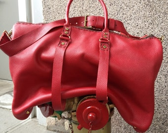 Mens leather duffle bag Custom made leather weekend bag