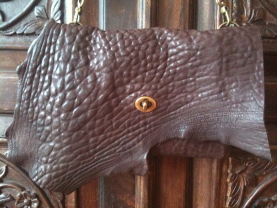 Handmade leather zip clutch, Brown evening envelope clutch purse, Small leather formal crossbody purse handbag, Clutches and evening bags