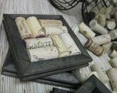 Wine Cork Coasters - DIY Kit - black set of 2 made from reclaimed wood