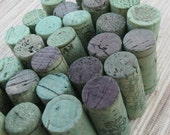 Wine Corks Craft Supplies - Green Wine Corks - eco crafting supply, turquoise DIY crafts