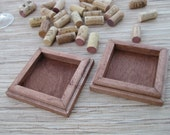 Crafts for Wine Corks - DIY Wood Coasters set of 2 - brown stain on reclaimed wood - save your wine corks