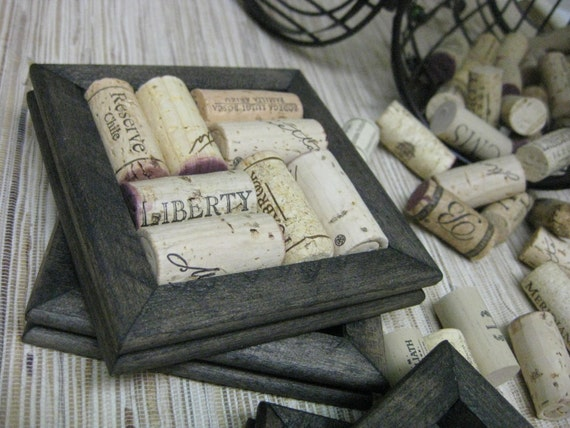 Wine Cork Coasters - DIY Kit - black set of 2 made from reclaimed wood