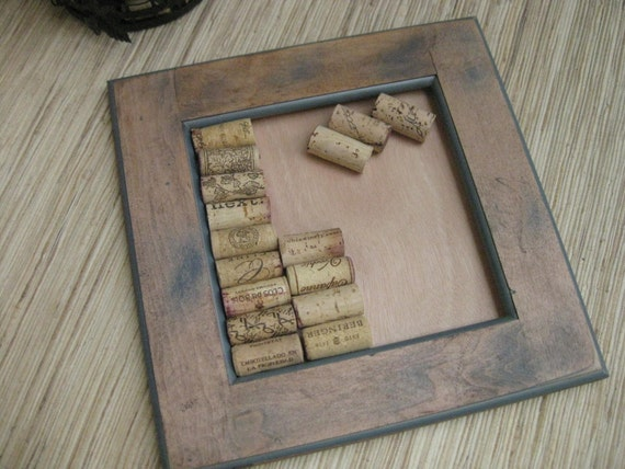 DIY Wine Cork Bulletin Board - made from reclaimed wood - Rustic Distressed Brown with Blue