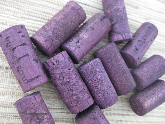 Purple Wine Corks - eco crafting supply, upcycle, dark purple, plum, craft, DIY